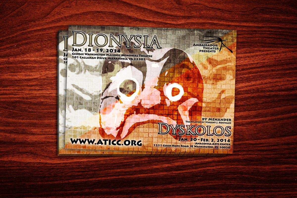 Graffan Art & design pocztówka do spektaklu Dionysia w ramach sykolos