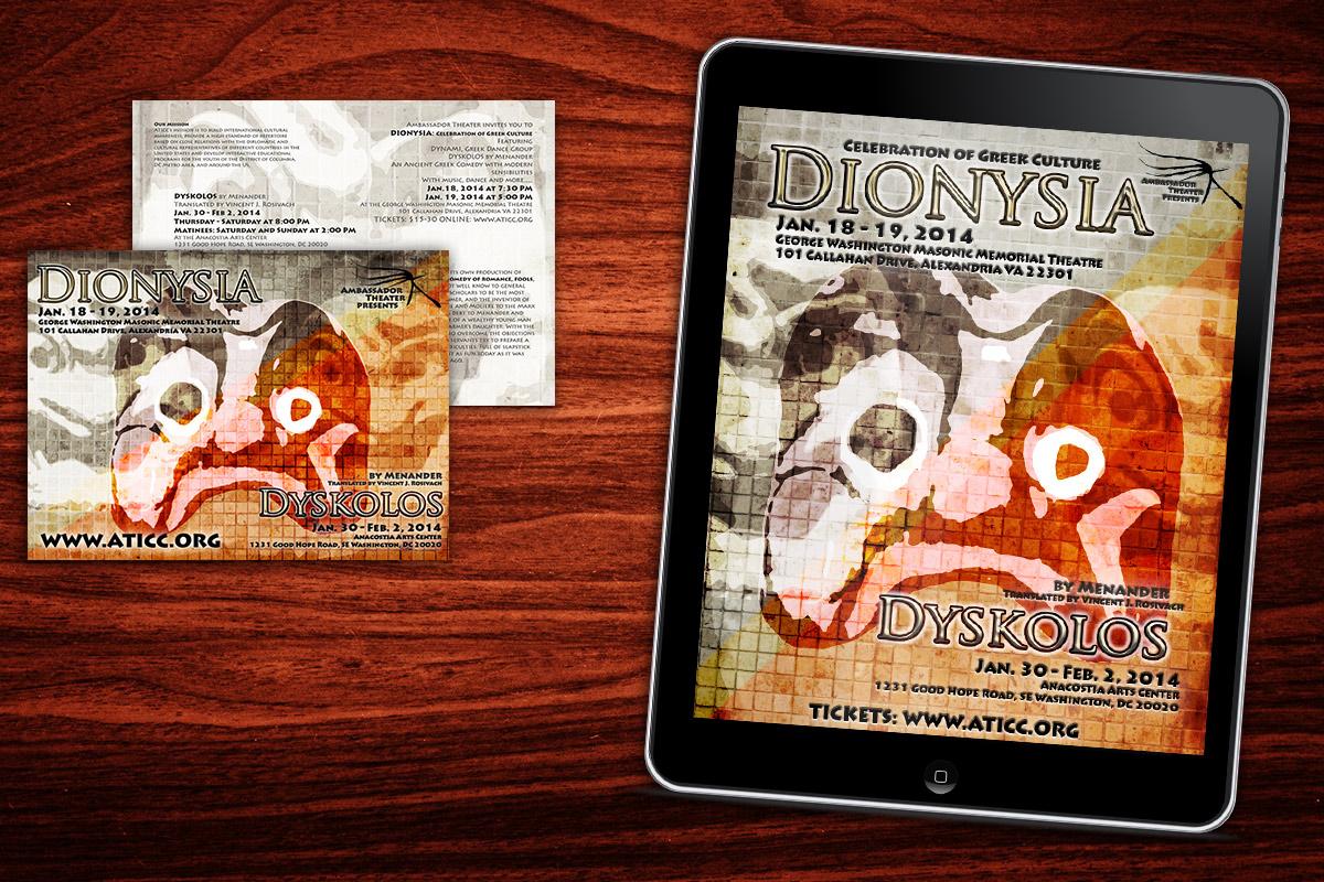 Graffan Art & design pocztówka i baner internetowy do spektaklu Dionysia w ramach Dysykolos