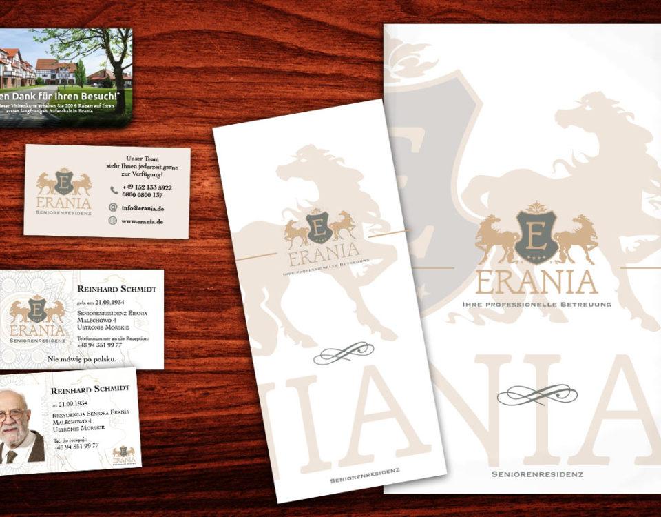 Materiały promocyjne: folder, ulotka, wizytówka i dowody osobiste pacjentów projektowane dla Domu Seniora Erania w Ustroniu Morskim