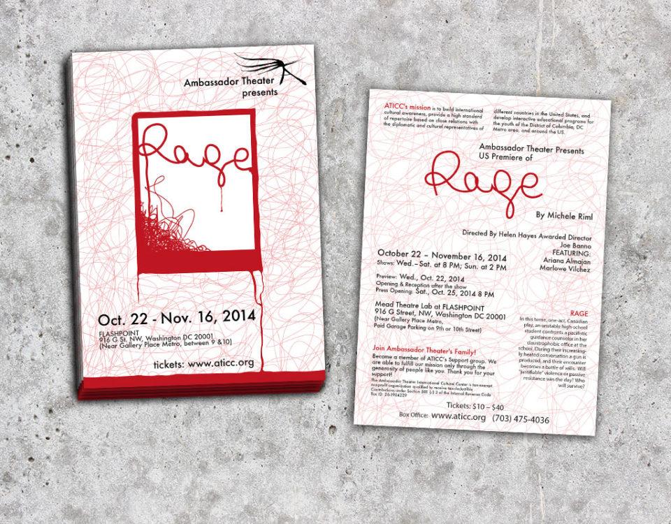 Graffan Art & design pocztówka-program do spektaklu Rage Ambassador Theater w Waszyngtonie